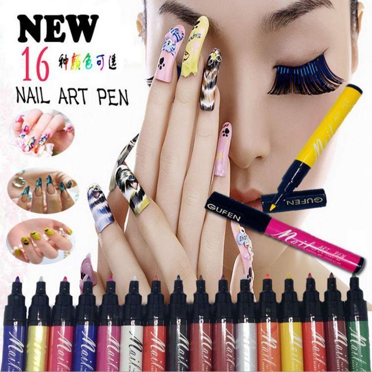 2015 новый Nail Art Pen Painting Design Tool 16 цветов дополнительный рисунок гель DIY Nail Tool Kit ногтей расставить инструменты