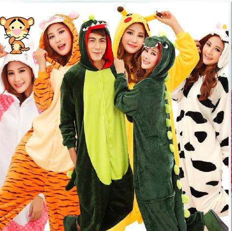 ebf5315977 Fashion Winter Pajamas Flannel Pyjama Sets Anime Cosplay Unisex Hooded  Onesies For Adults Sleepwear Stitch Pikachu Panda Cat Halloween Costume  Scary ...