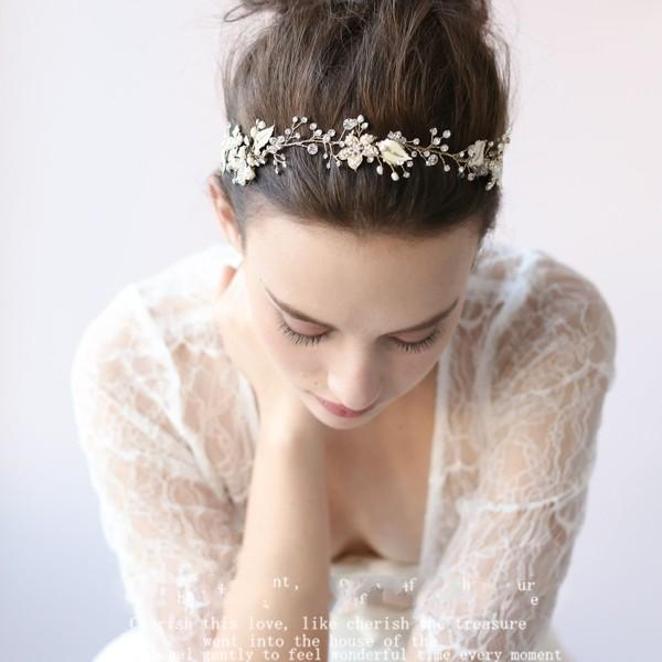 goldsilver romantic pretty bridal hair accessories hair bands hand made rhinestone pearls headbands unique bride wedding accessories cheap hairpins kids