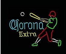"Corona Extra Baseball Player Neon Sign Commercial Custom Handmade Beer Bar Club Pub Game Room Sport Display Real Glass Neon Signs 17""X14"""