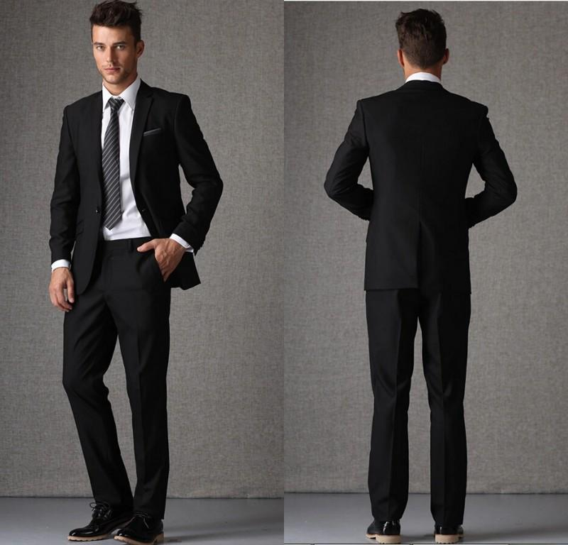 2015 Mens Custom Made Suits Black Suit For Business One Button ...
