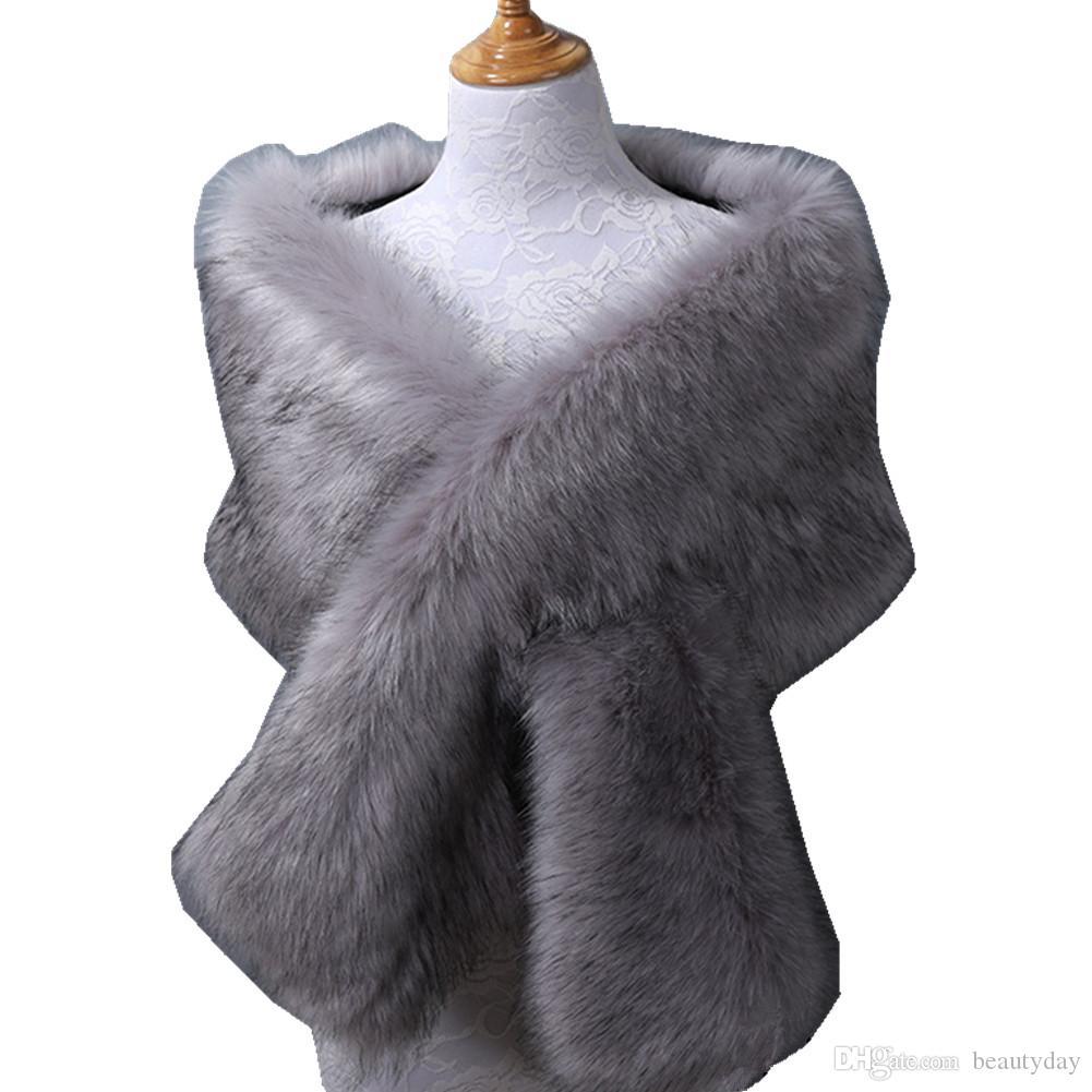 Kış Düğün Ceket Gelin Faux Kürk Sarar Sıcak Sopa Şallar Giyim Nedime Siyah Gary Beyaz Shrug Kadın Ceket Balo Akşam