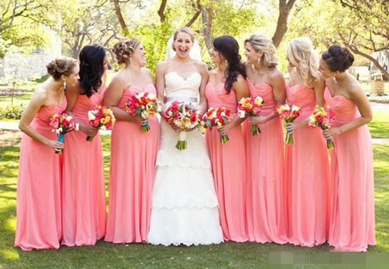2015 Bright Watermelon Bridesmaid Dresses Beautiful A Line ...