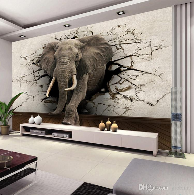 Custom 3d elephant wall mural personalized giant photo for 3d interior wall murals