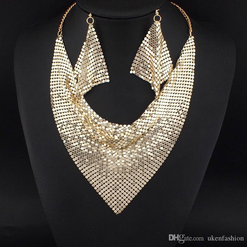 Indian Chic Style Shining Metal Slice Bib Choker Statement Necklaces Matching Earring Party / Wedding Fashion Jewelry Sets N3056
