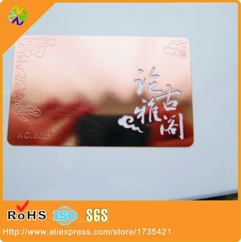 Acheter 80 50mm Taille Logo Coupe Travers Brillant Carte De Visite En Mtal Or Rose 22673 Du Vingyuan