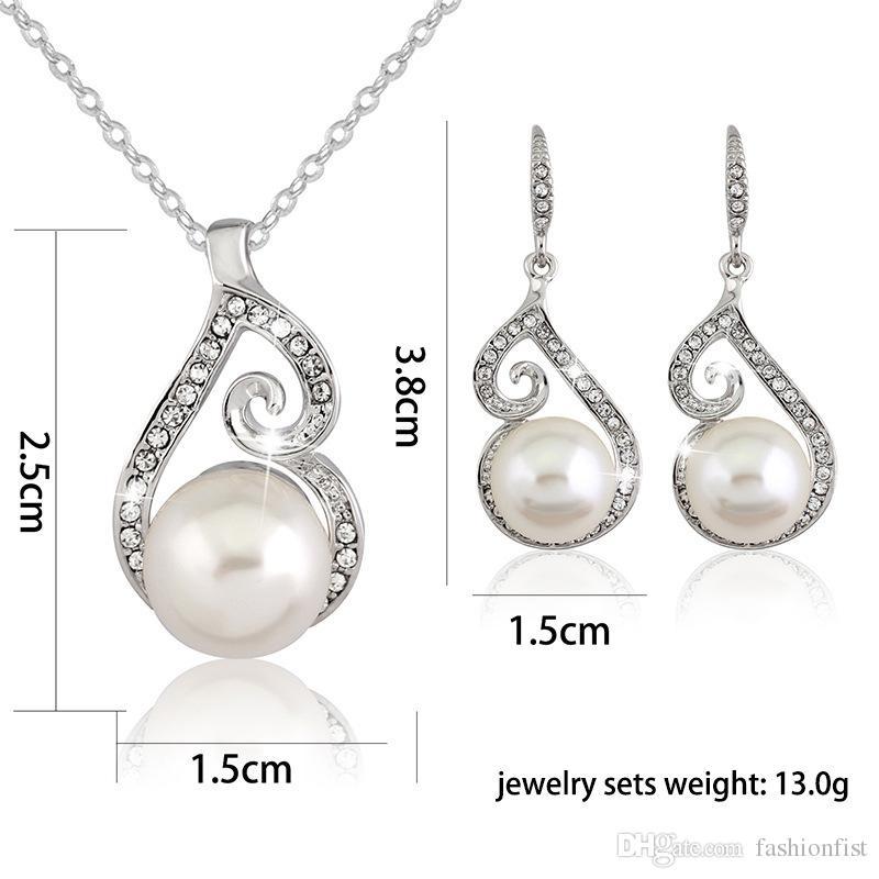 2016 neueste Frauen Kristall Perle Anhänger Halskette Ohrring Schmuck Set 925 Silber Kette Halskette Schmuck 12 stücke Verkauf