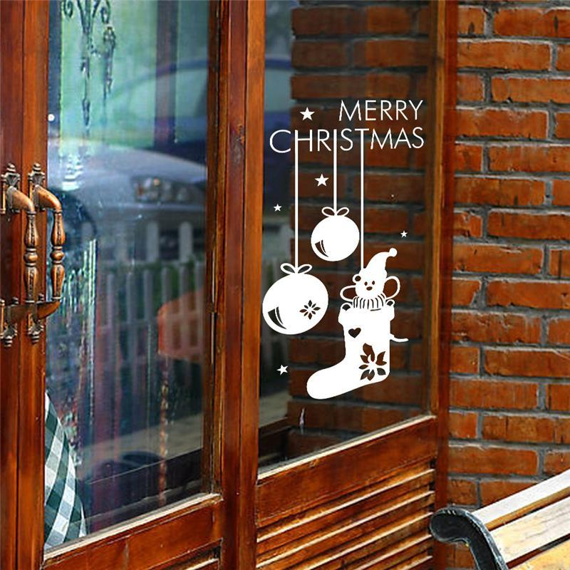 merry christmas socks shop wall stickers glass room decorations 057. diy vinyl gift home decals festival mual art poster 3.5