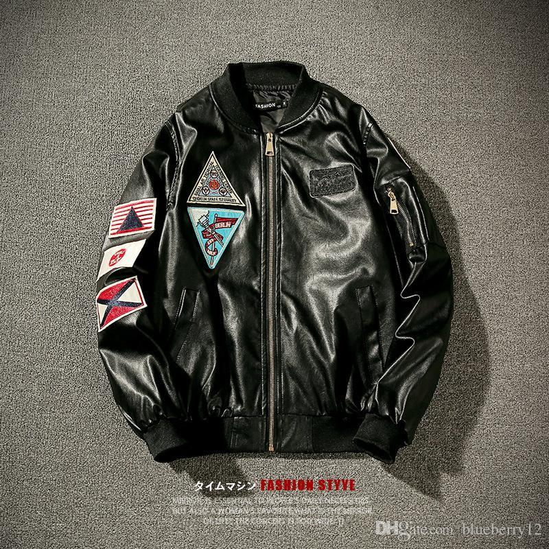 Winter Hot Warm Fashion Street wear Brand Men's leather Jacket Collar Stand Slim Motorcycle Faux Leather Male Coat Outwear Jacket