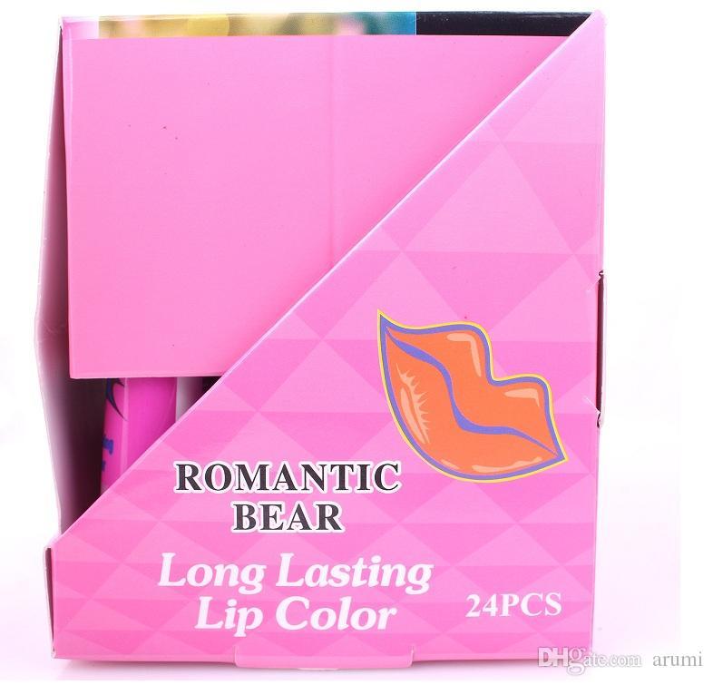 2015 Lip Gloss Peel-off dura 24h Nessuna macchia Marine Collagen Rossetto Balsamo Pianta Romantico Bear i Trucco Idratante 24 pz / scatola