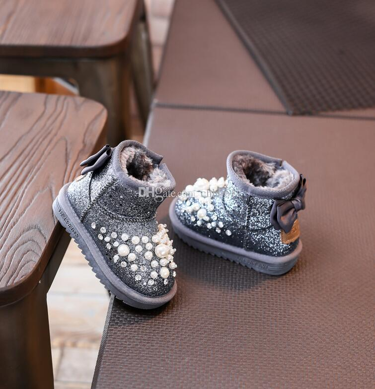 2017 Kid Snow Boot Winner Niños Fashion Pearl Rhinestone Baby Pu Leather Plush Snow Boot Kid Girl Black Flat es
