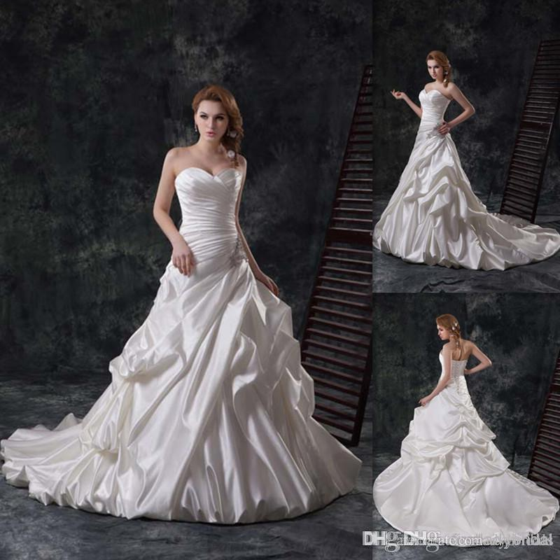 Discount 2015 Gothic Traditional Wedding Gowns Ivory Satin