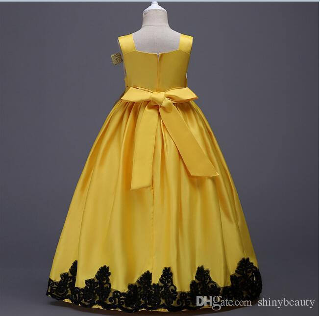 Square Ball Gown Appliques Bow Sarin Floor Length Ruffle Wedding Dress Yellow Flower Girl Dresses Bright