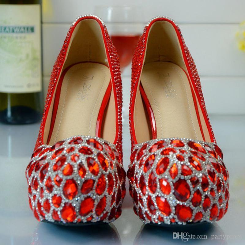 Red Custom Make plus taille cristaux de talon haut et strass mariée mariage Pompes chaussures Diamond Lady Chaussures Party Prom Talons Hauts