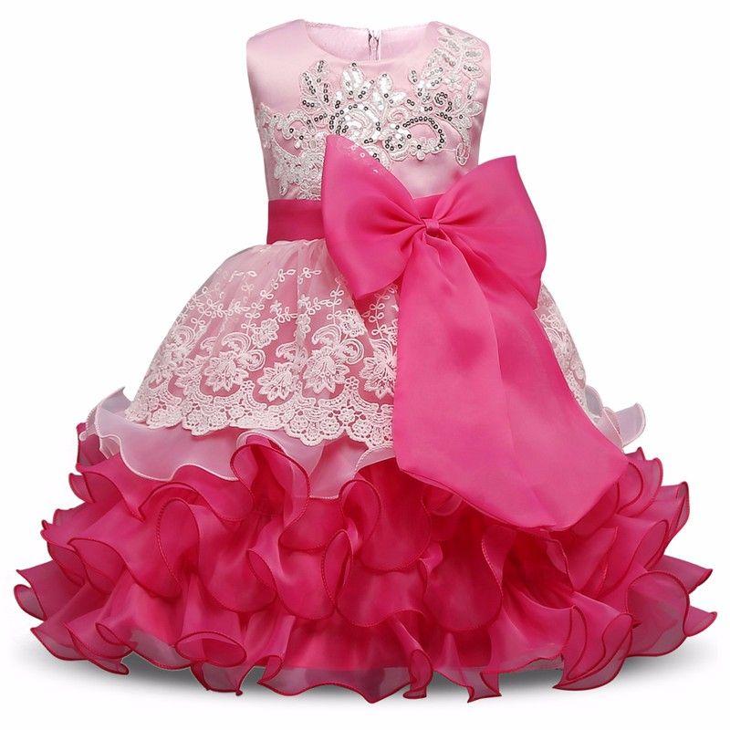 1faa59308a9 New Baby Kids Girls Flower Princess Bow Party Evening Tutu Wedding ...