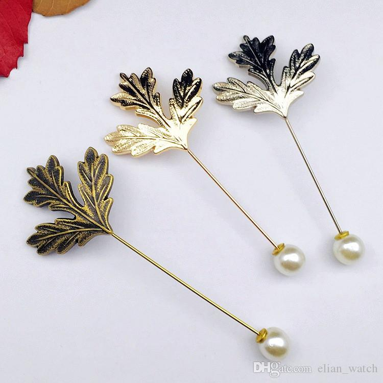 Mode Formele Mannen Vintage Insert Alloy Revers Pin Vintage Maple Leaf Pearl Broches Pins Gentlemen Bruiloft Geplated Pins Corsage