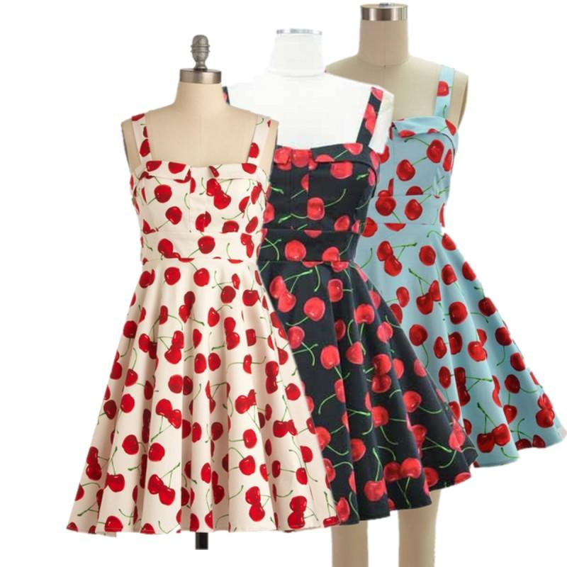 Plus Size 50s Vintage Style Pin Up Dress Cherry Print Strapless ...
