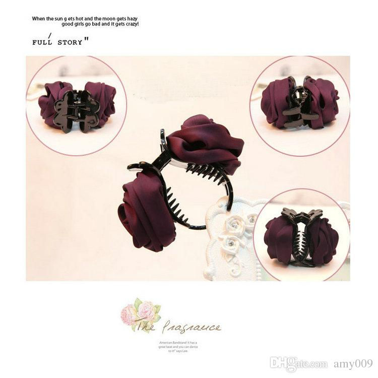 HOT Fashion Girls Women Korea style hairpin cotton Rose Flower Bow Hair Claw Jaw Clip Clamp Barrette Big Flower Hair Accessories