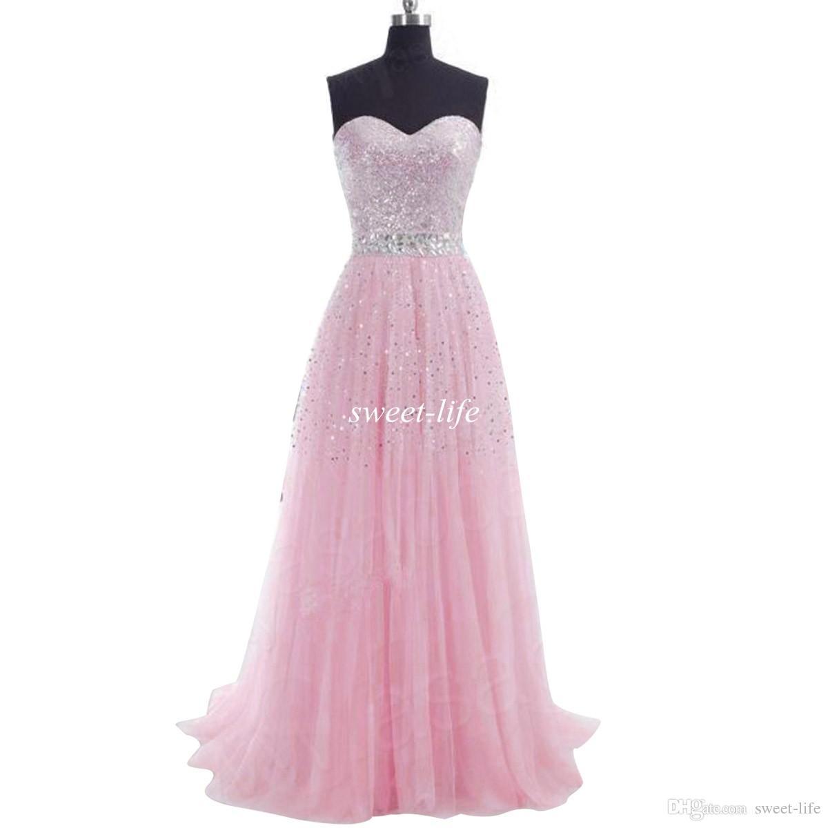 Em estoque 2019 barato longo vestidos de baile lantejoulas uma linha querida tule lace up lilás azul coral festa vestidos de dama de honra vestidos de noite