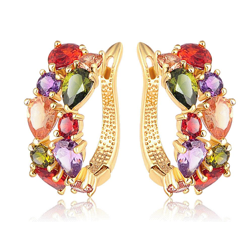 LZESHINE 16 Colors for Choose Top Sale Flower Earrings Rose Gold Plate Multicolor CZ Stone Hoop Earrings for Women Bijoux Brinco