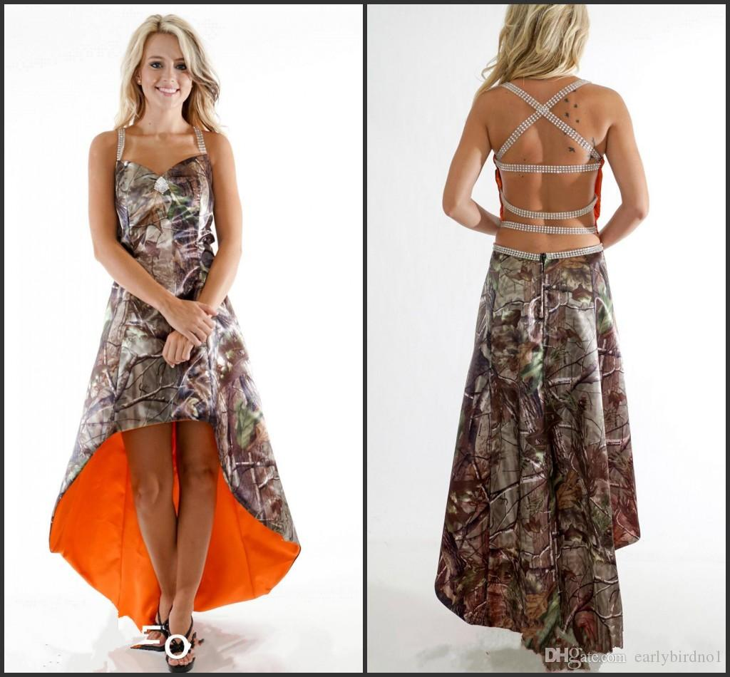 2016 High Low Spaghetti Camo Bridesmaid Dresses with Beads A Line Criss Cross Back Camoflage Maid of Honor Gowns Custom Made