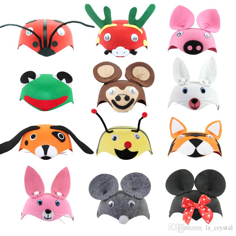 cartoon animals kids party hats christmas cosplay performance props childrens day baby festive hats caps halloween supplies sd403 party supplies cheap - Kids Cartoon Animals