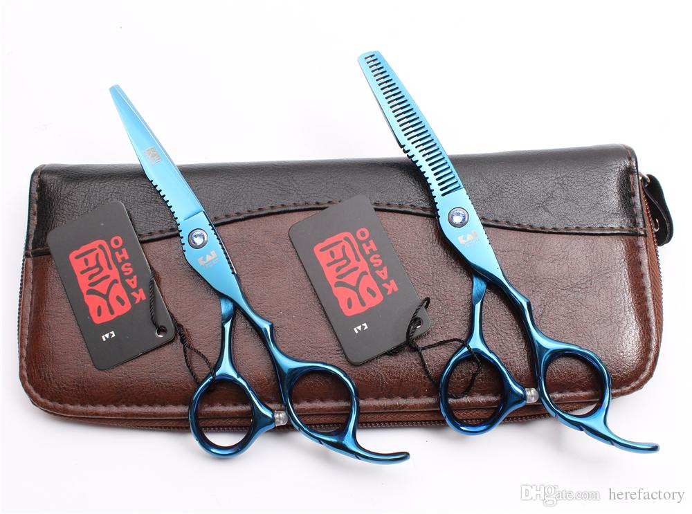 "H1011 6"" 17.5cm Japan Kasho Blue Professional Human Hair Scissors Barber's Hairdressing Scissors Cutting Thinning Shears Salon Style Tools"
