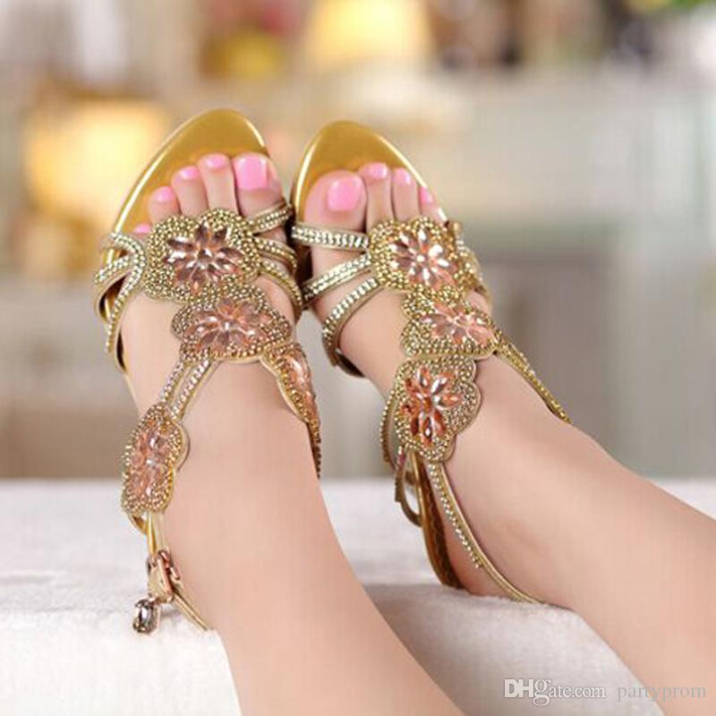 Middle High Heel Sandals Beaded Rhinestone Open Toe Lady Bridesmaid Summer Cool Elegant Shoes Bridal Wedding Dresses Shoe
