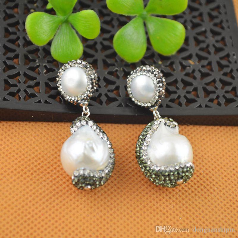 NEW Fashion ~ Silver White Color Pearl With Rhinestone Crystal Dangle Earrings Charms Jewelry Finding