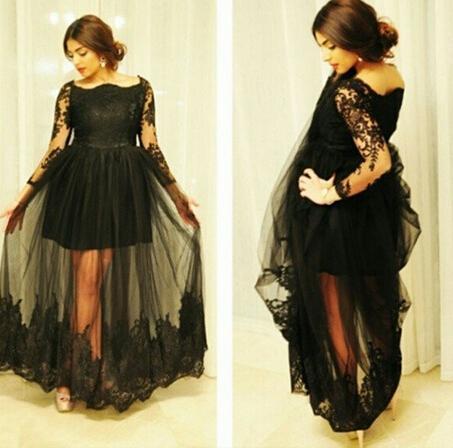 2015 vestidos de fiesta negros Cuello redondo Apliques de encaje Falda de ilusión de manga larga transparente Vestidos largos de noche Dhyz 01