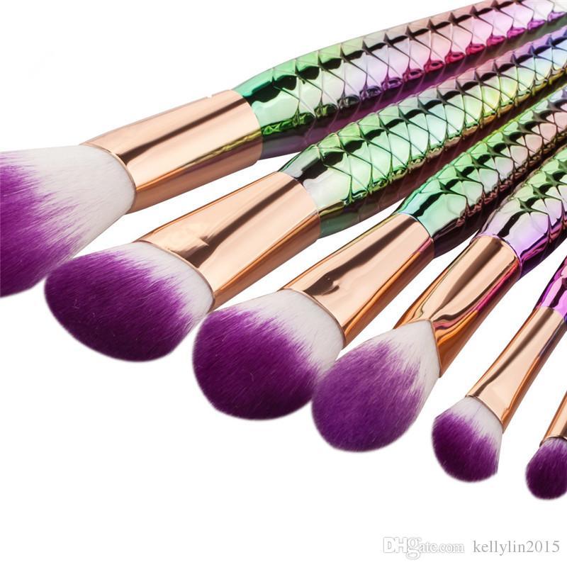 Professional Make up Brushes Kit Mermaid Eye shadow Powder Foundation Brush Cosmetic Rainbow Multipurpose Makeup Brushes Sets