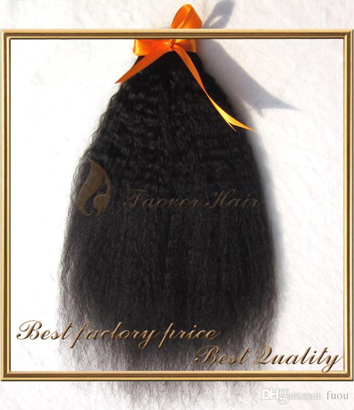 送料無料7A等級8-28インチKinky Straighの髪の緯度粗い矢焼きイタリア人焼きナチュラルカラーペルーの処女の人間の髪の毛織物