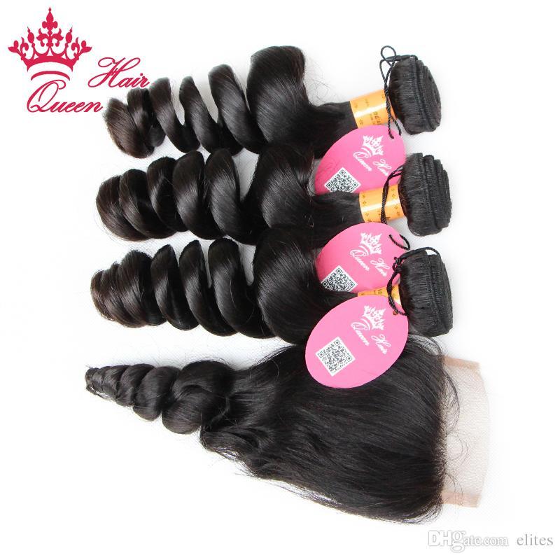 Cabelo Humano Virgem da Rainha com fechamento 4 pçs / lote, feixes de cabelo indiano com fechos de renda 100% não processado onda solta DHL livre