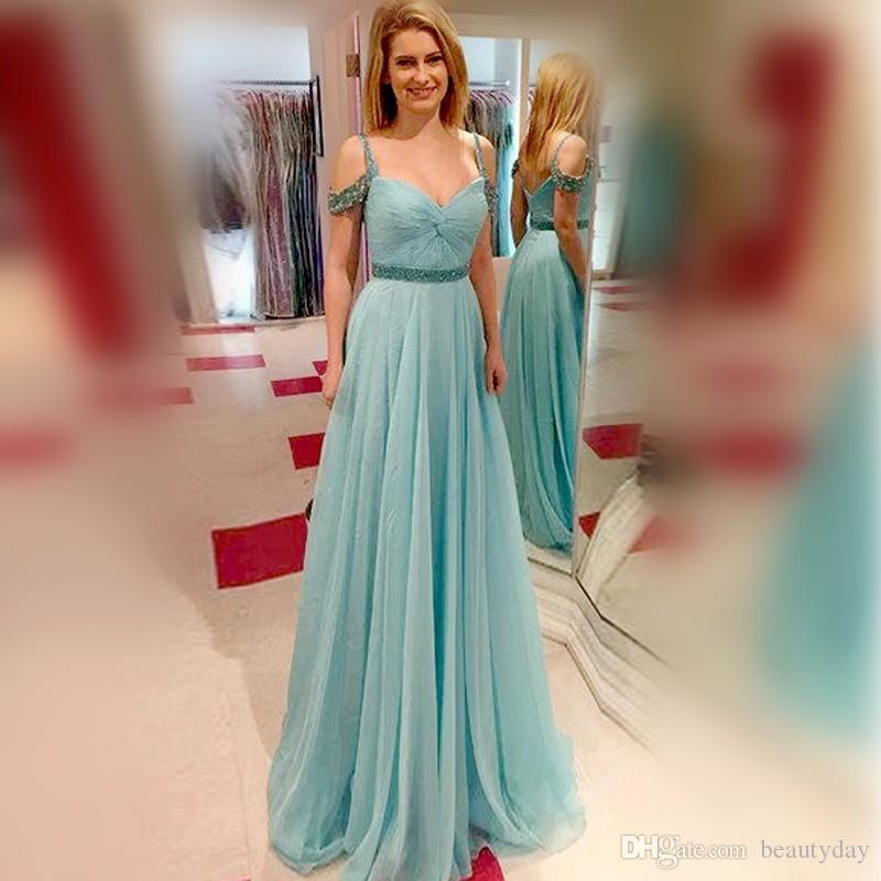 Дешевые платья для подружек невесты Темно-бирюзовый шифон Платья для подружек невесты Формальные складки Свадебное платье для гостей A Line Crystals 2019 Sash