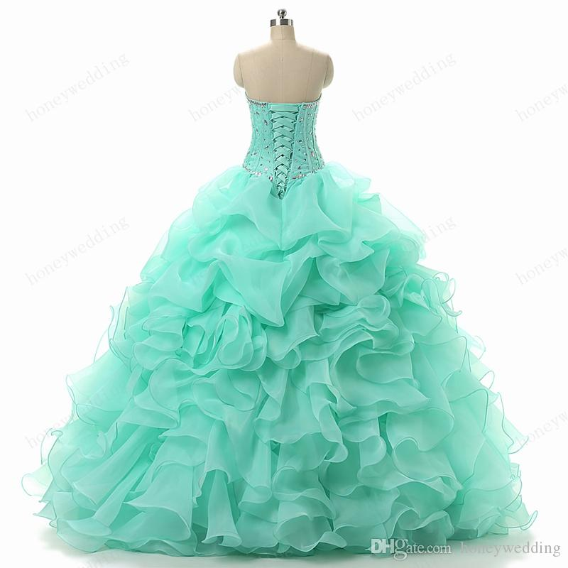 Vestidos de quinceañera de color verde menta, cariño, con cuentas de cristal, deshuesado, volantes de organza, dulce, dulce, 15, 15, debutantes, niñas, disfraces, vestidos de baile.
