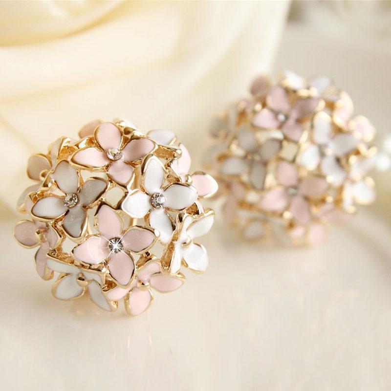 2018 Pink Blue Flower Four Leaf Stud Earrings Clove Designer New ...