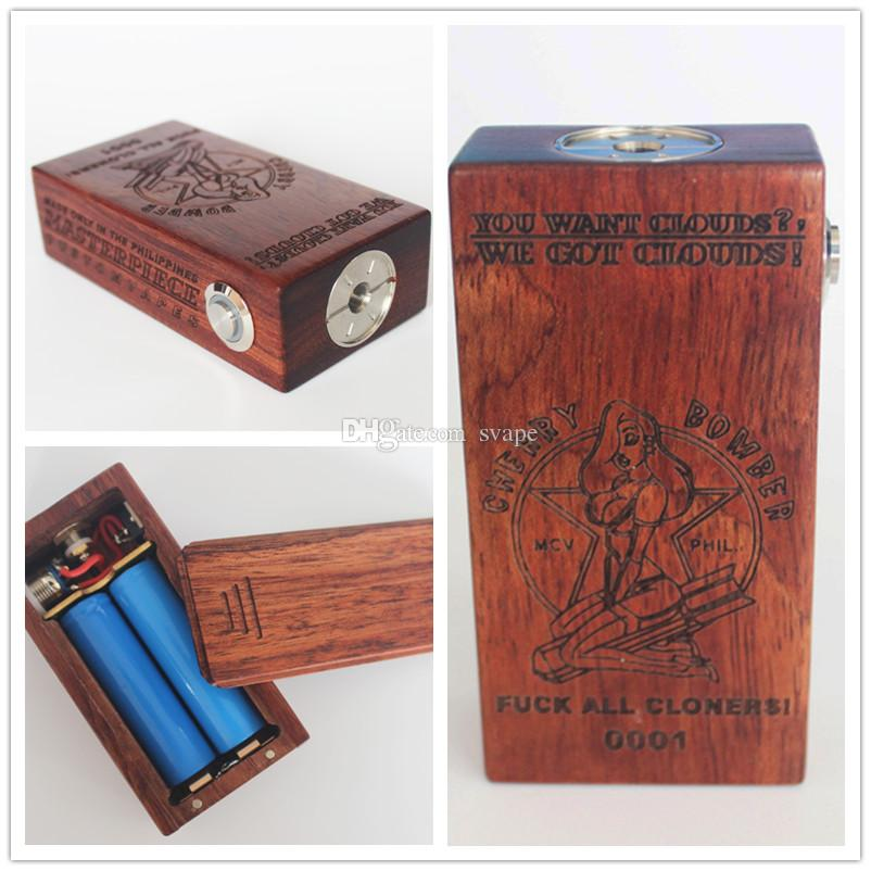 DHL free Newest Cherry Bomber Box Mod Dual 18650 Battery Brass Contact 510 Thread Vape Mod Fit RDA Atomizer from Silviatech