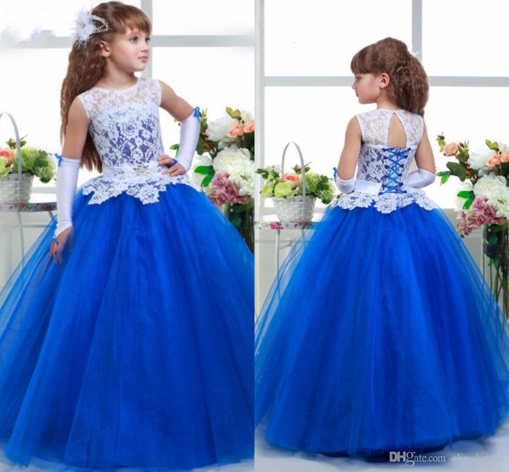 Королевский синий белый кружево цветок девочка платья дети платья для свадеб кружева тюль девушки Pageant платья Причастие