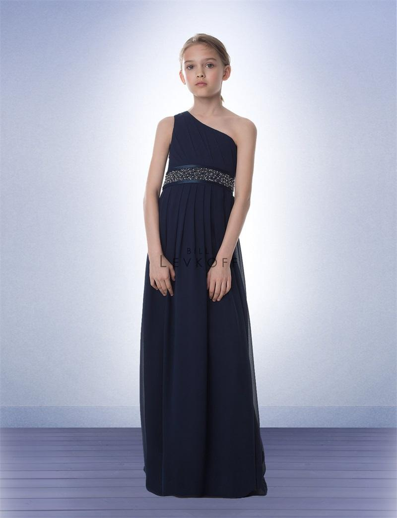 Elegant chffon junior bridesmaid dress one shoulder navy blue 2015 see larger image ombrellifo Image collections
