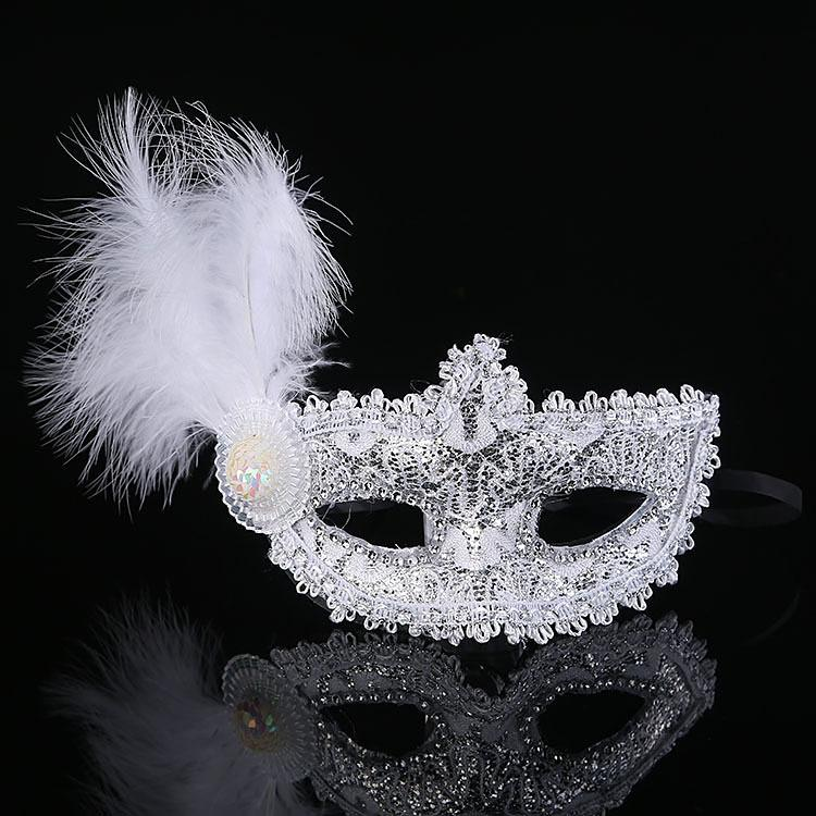 2015 High End Lace Venice Mask Masquerade Leather Feathers