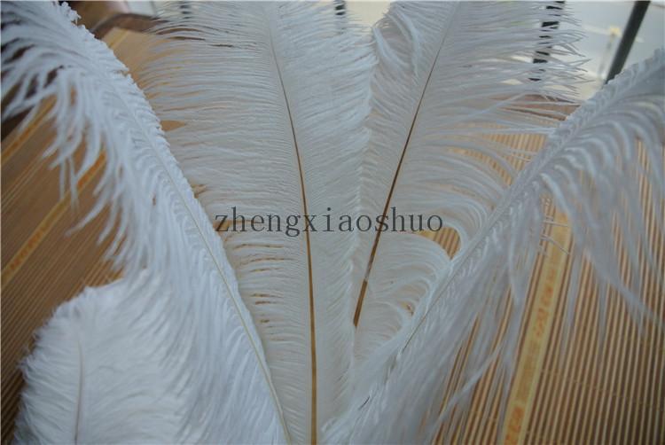 Wholesale /ロット14-16インチ(35-40cm)ホワイトダチョウの羽のためのウェディングセンターピースパーティーテーブルセンターピース結婚式の装飾