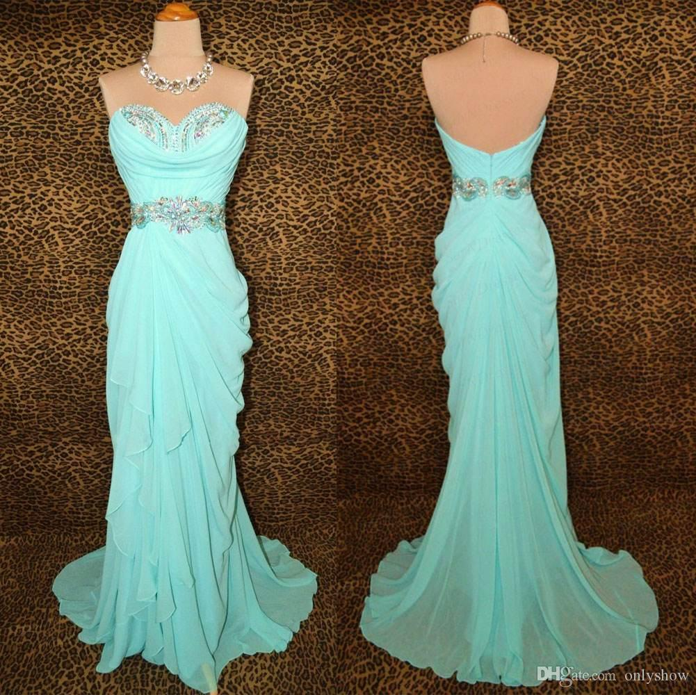 Mint Green Long Prom Dresses Party Evening Gowns Formal Women Dress ...