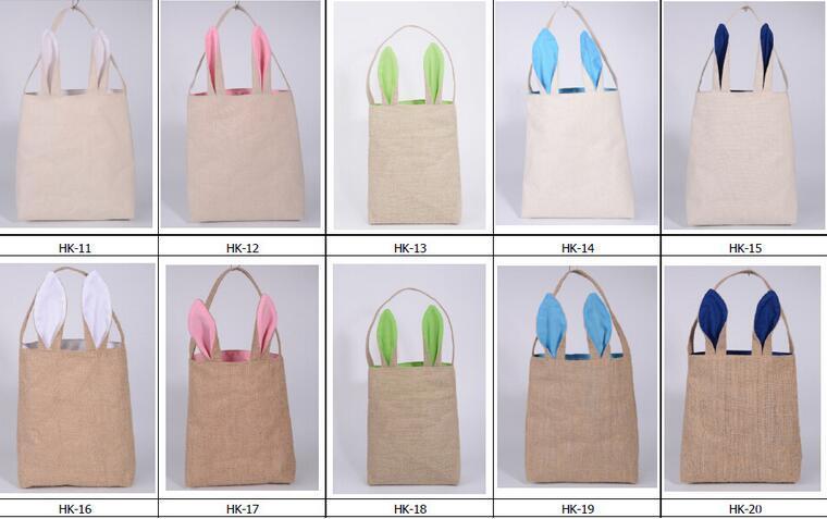 5 색 좋은 디자인 부활절 토끼 귀 핸드백 황 마 천 재료 어린이 좋은 축제 선물을위한 부활절 선물 포장
