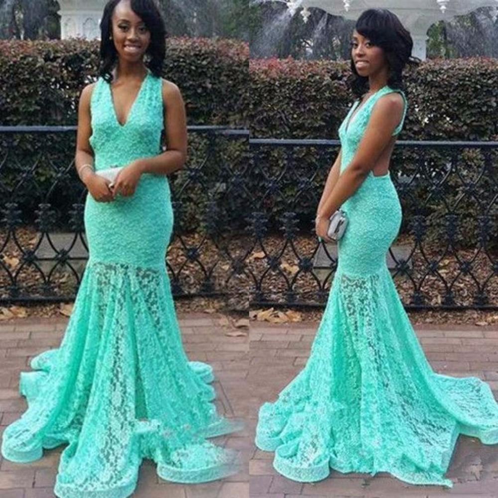 Sexy V Neck Mint Green Prom Dresses 2016 Fashion Lace Mermaid ...