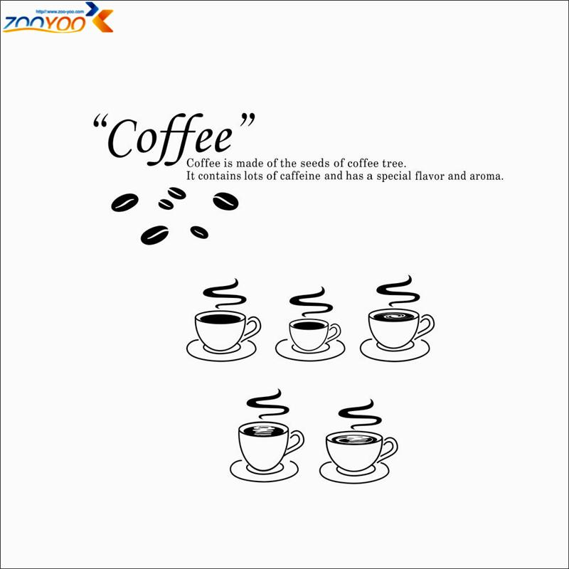 Coffee Shop Vinyl Sticker Zooyoo8306 Kitchen Wall Decal Home Decor Design  3d Wall Mural Eco Friendly Wall Stickers Coffee Art Floral Wall Decals  Floral Wall ...