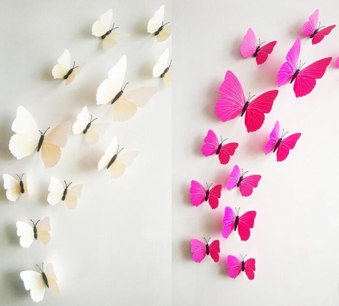 1200 adet 12 adet = 1 takım PVC 3D Kelebek Duvar Çıkartmaları DIY Çocuk Odası Çıkarılabilir Ev Dekorasyon Güzel Düğün Fotoğrafçılığı Sahne ...