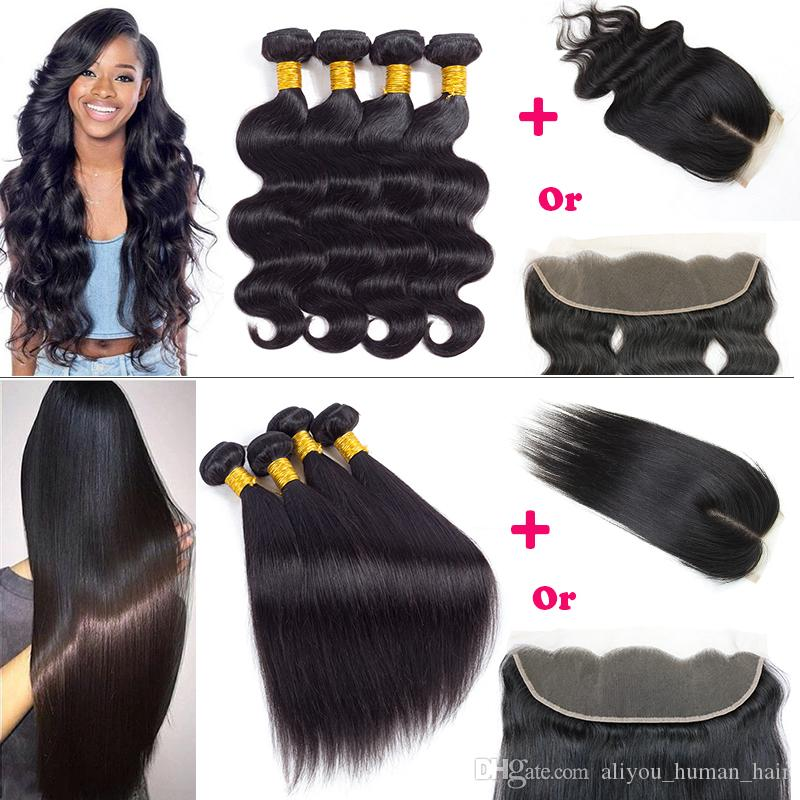Body Wave Straight Human Hair 4 Bundles With 4x4 Closure Wet and Wavy Brazilian Virgin Hair Extensions With Lace Frontal Human Hair Weaves