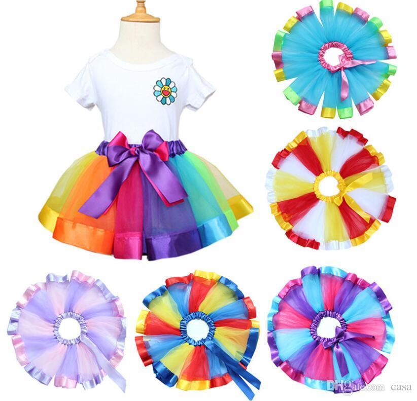2e0f79557 Children Rainbow Tutu Skirt New Kids Newborn Lace Princess Dresses ...