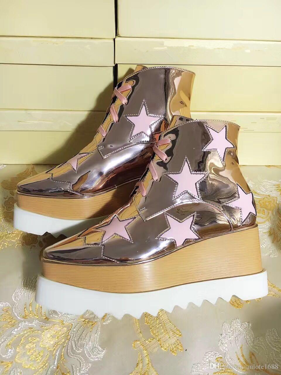 Женщины Кожаные Ботинки Стелла Маккартни Звезда Creepers Обувь Розовое Золото Ремешками Клинья Платформа Зимние Квартиры Обувь Эспадрильи Оригинальный Box