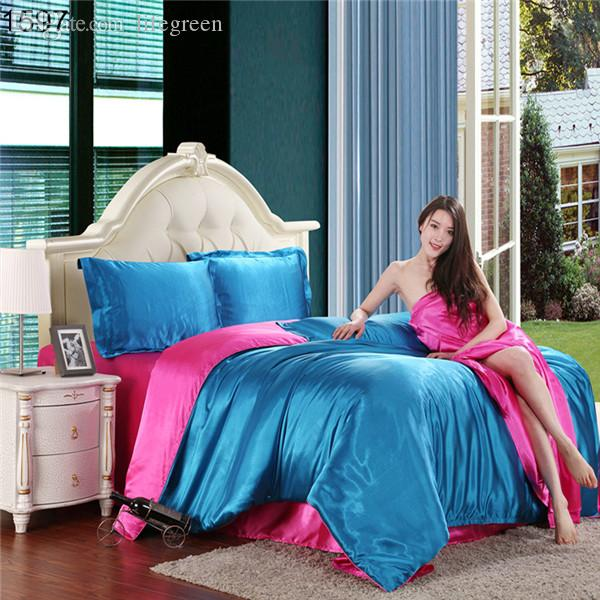 wholesale over 20 patterns satin silk bedding sets silky feeling good quality sets with sheet rock to bottom price sale blue duvet cover
